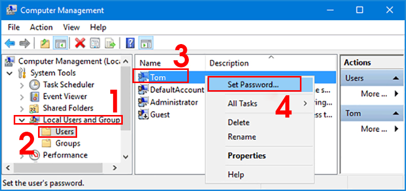 Chọn tài khoản người dùng và tiến hành đổi mật khẩu