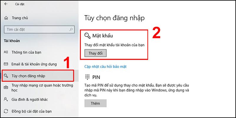Thay đổi mật khẩu của mục Tùy chọn đăng nhập