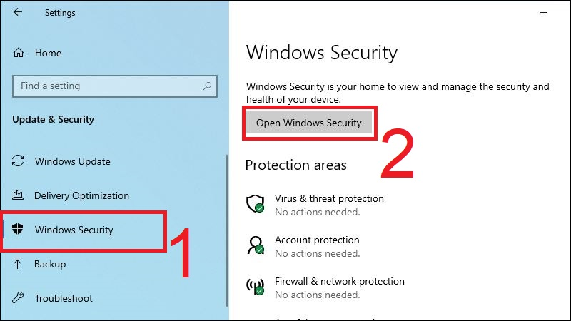 Mở Open Windows Security trong mục Windows Security