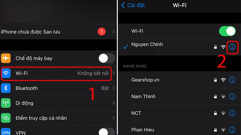 Truy cập vào điểm truy cập WiFi đang kết nối trong phần Cài đặt