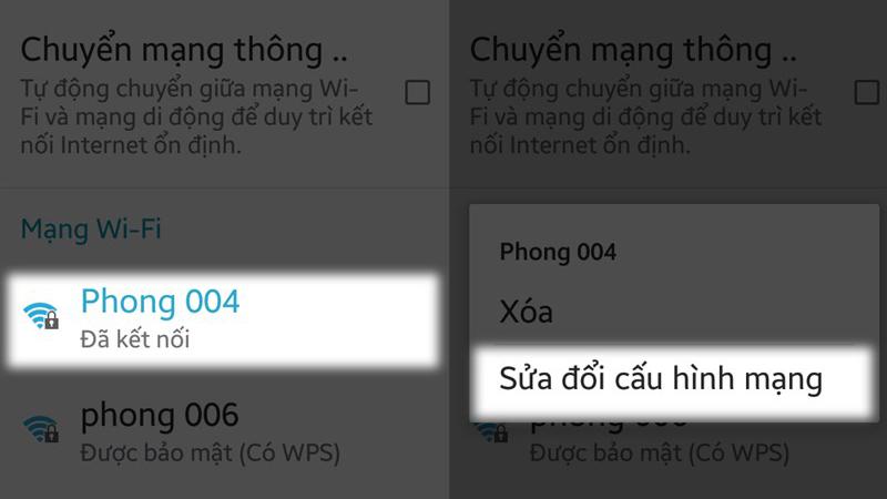 Sửa đổi cấu hình mạng của WiFi đang truy cập