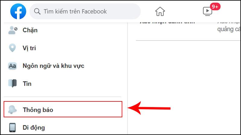 Nhấn vào Thông báo ở bên trái.