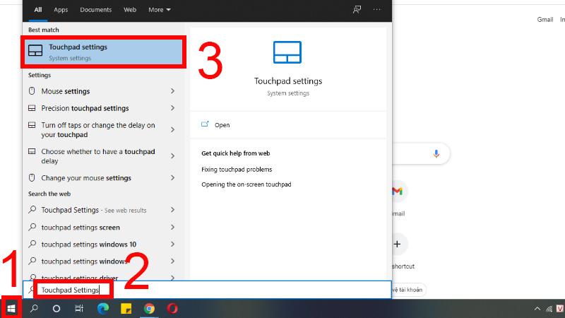 Tìm kiếm và chọn tính năng Touchpad settings trên máy tính