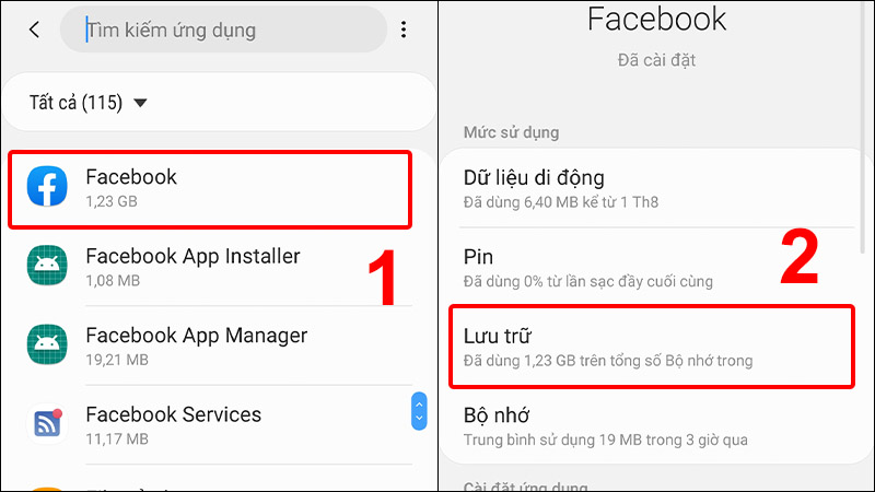 Nhấn vào ứng dụng Facebook và chọn Lưu trữ
