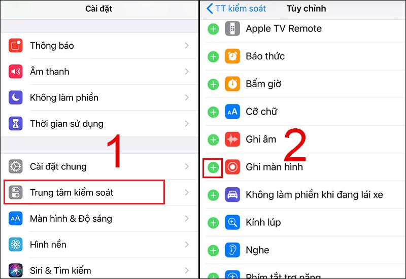 Mở chức năng quay màn hình trên iOS