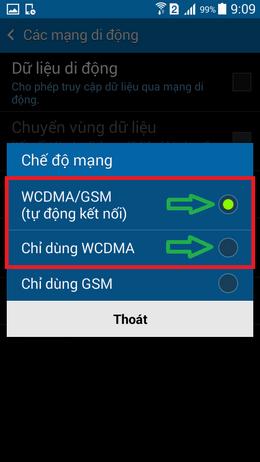 chọn chế độ 3g, hoặc ưu tiên 3G