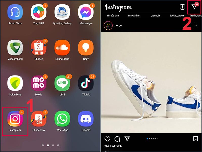 Mở Instagram và chọn biểu tượng mũi tên ở góc phải màn hình điện thoại