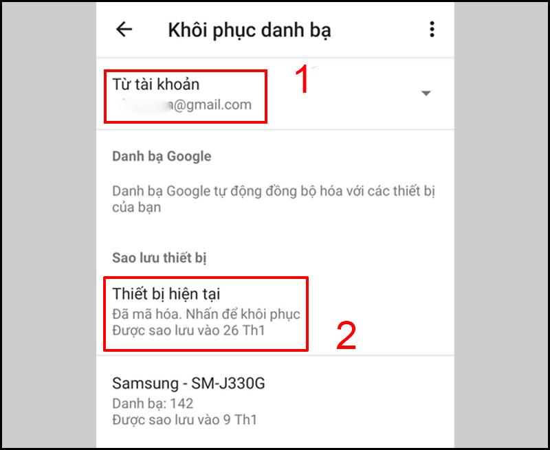 Cách lấy lại danh bạ trên điện thoại Android bằng tài khoản Google