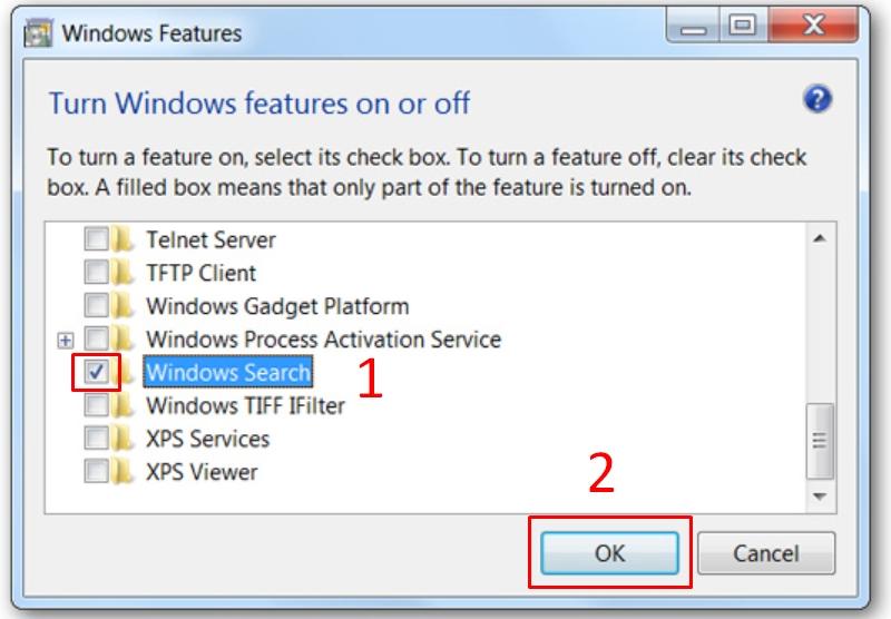 Bỏ chọn Windows Search