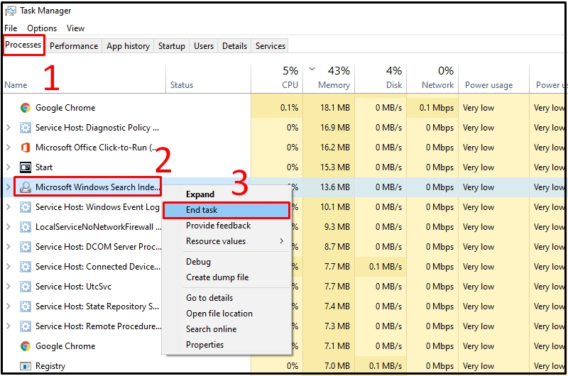Chọn End Task trong Microsoft Windows Search tại Task Manager