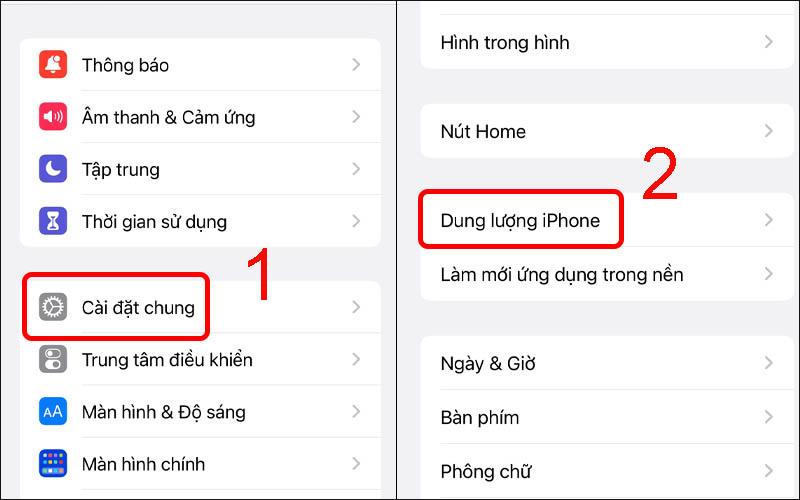 Chọn Dung lượng iPhone