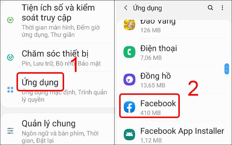Chọn ứng dụng Facebook