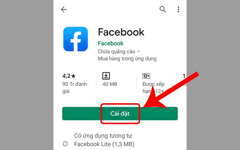 Cài đặt lại ứng dụng Facebook