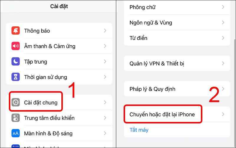 Chọn mục Chuyển hoặc đặt lại iPhone
