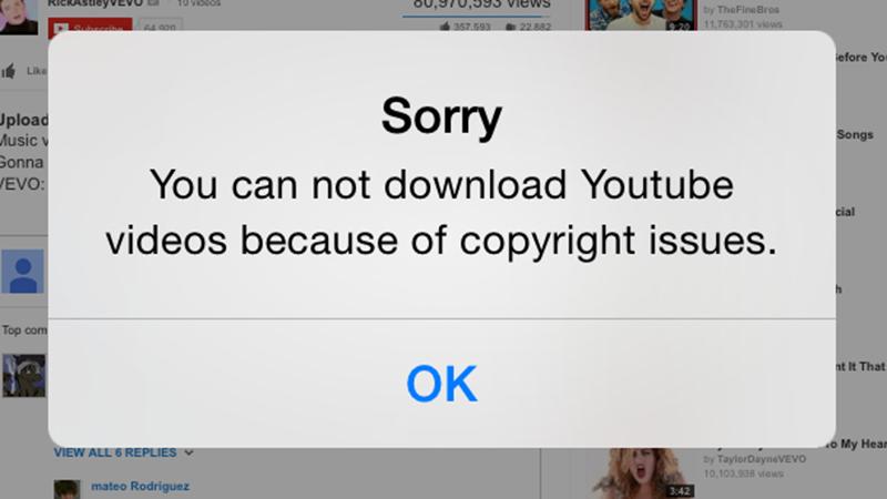 Không tải được video YouTube vì lý do bản quyền