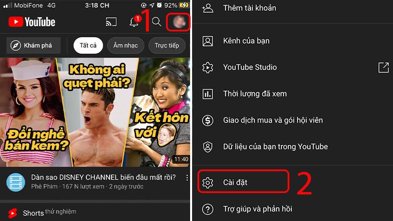 Truy cập vào Cài đặt trong ứng dụng YouTube trên điện thoại