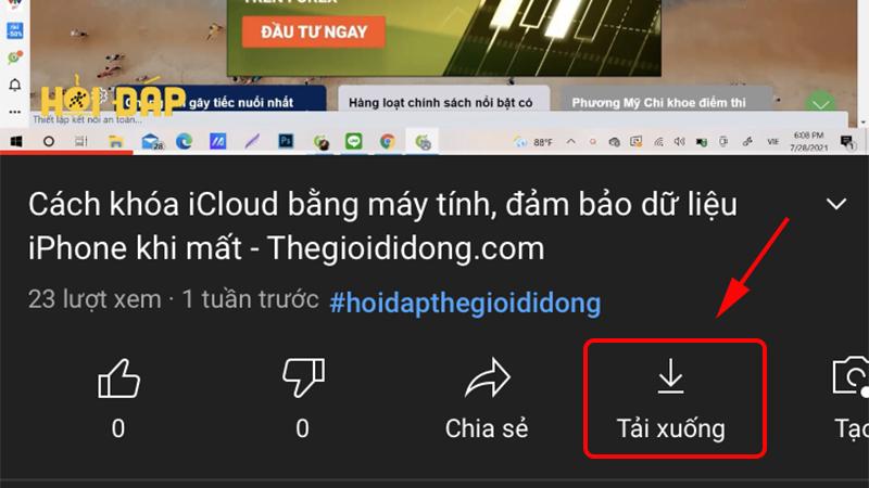 Tải video trong ứng dụng YouTube