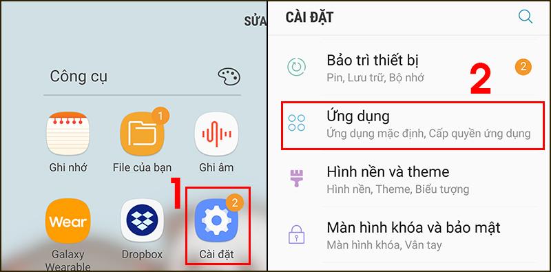 Truy cập ứng dụng trong điện thoại Android