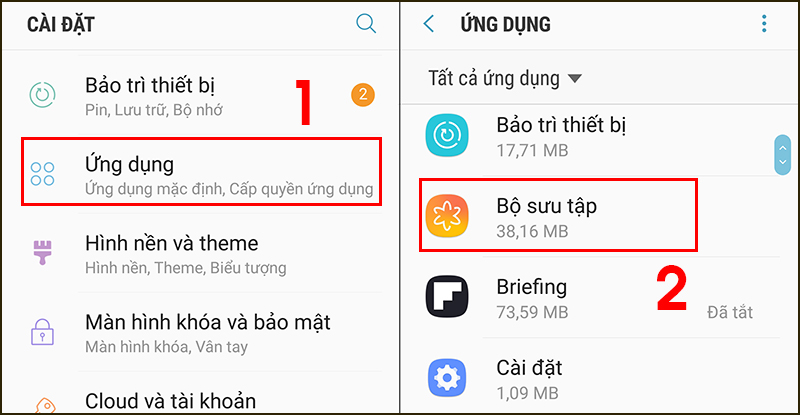 Tìm kiếm Bộ sưu tập trong ứng dụng