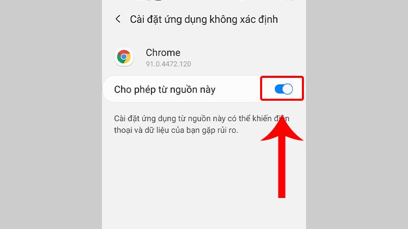 Bật công tắc ở mục Google Chrome