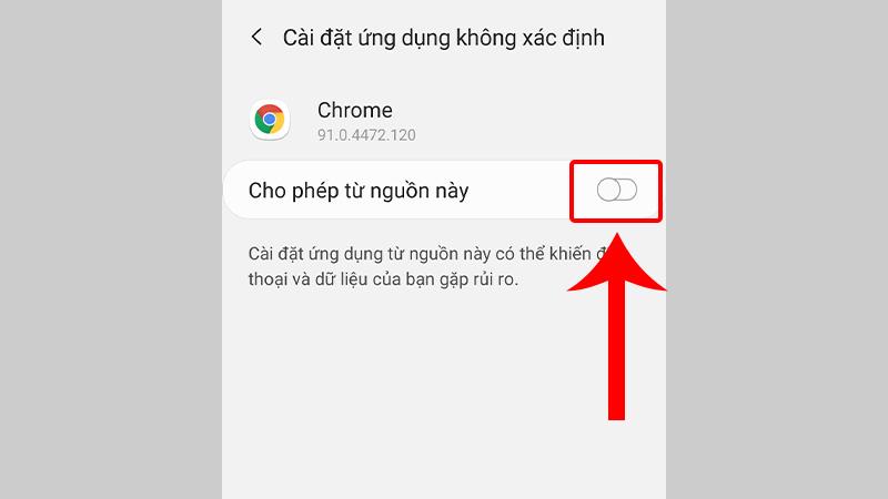 Gạt tắt công tắc để tắt quyền cài đặt ứng dụng không rõ nguồn gốc
