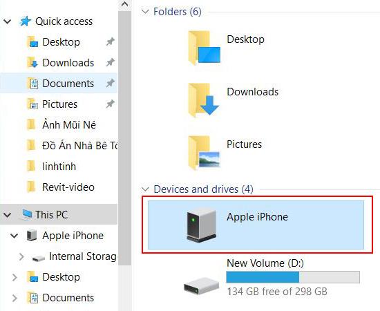 Lúc này thiết bị iPhone của bạn sẽ xuất hiện trong This PC.