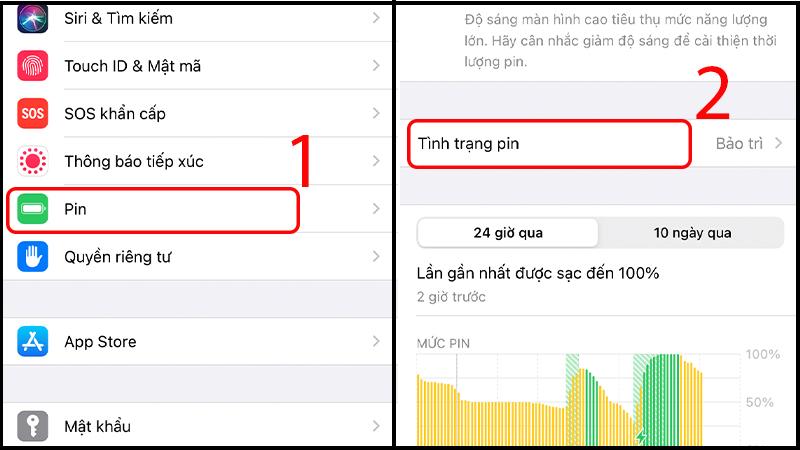 Kiểm tra tình trạng pin trong phần Cài đặt của iPhone