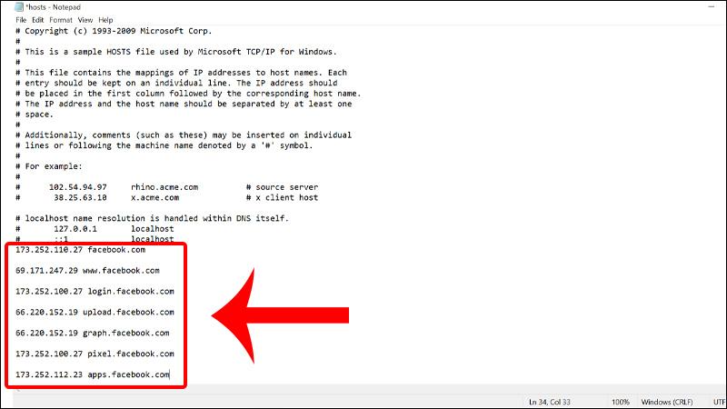 Copy và paste dãy hosts vào cuối File Hosts