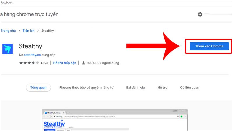 Sử dụng tiện ích Stealthy để truy cập Facebook