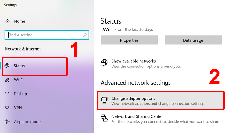 Click chọn Change adapter options