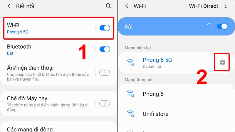 Vào Wi-Fi và chọn biểu tượng Cài đặt