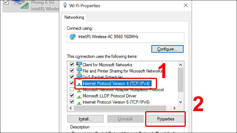 Chọn Internet Protocol Version 4 (TCP/IPv4) và click chọn Properties