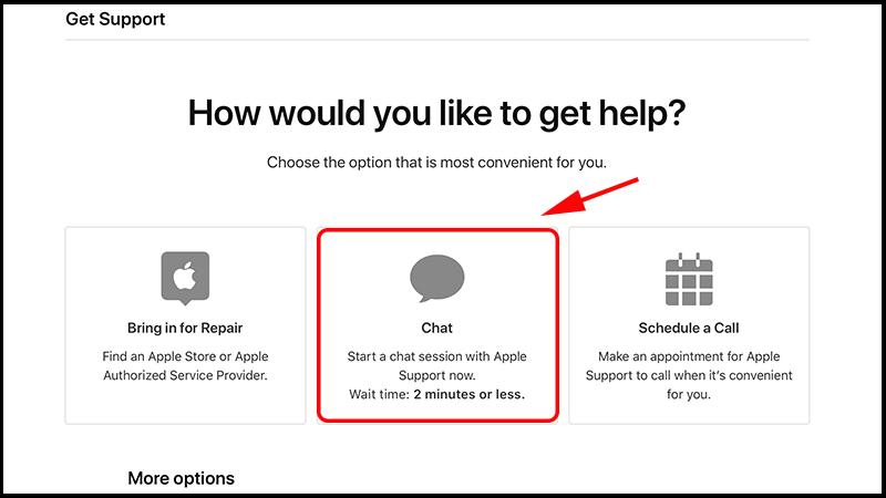 Chọn Chat để chat với nhân viên Apple