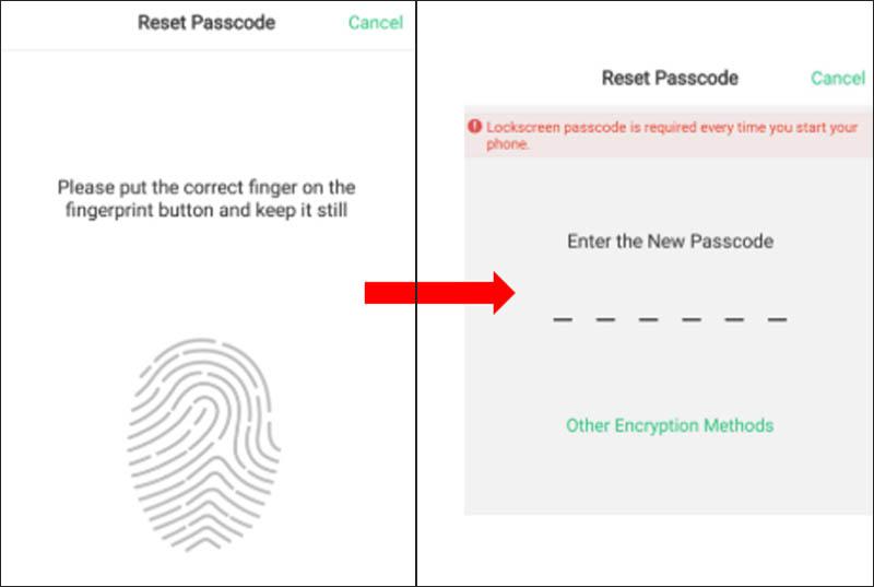 Nhập mật khẩu mới nếu hiện khung Reset mật khẩu