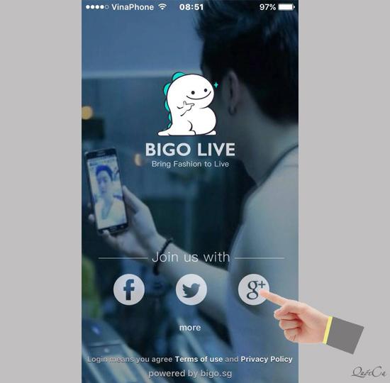 Đăng nhập bigo live bằng facebook hoặc google