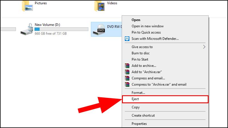 Click chuột phải vào biểu tượng ổ đĩa > Chọn Eject.