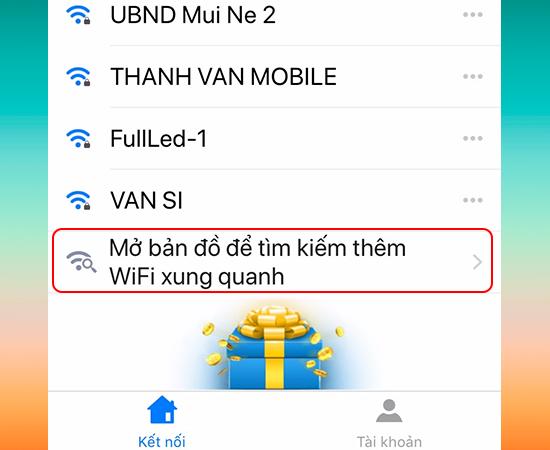 Mở bản đồ tìm kiếm thêm Wi-Fi xung quanh