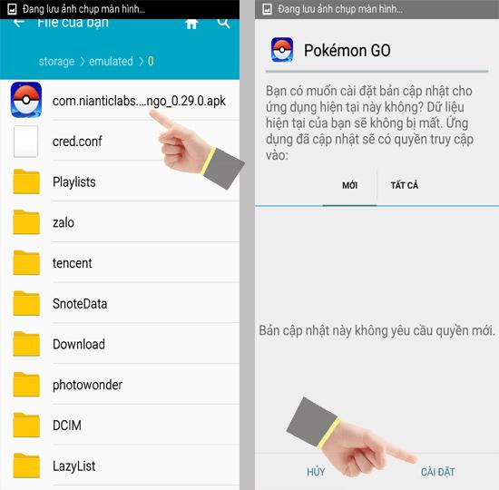 Vào quản lí file trên thiết bị Android và chọn file APK của game để cài đặt.