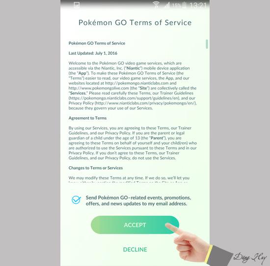 Đồng ý các điều khoản của game pokemon