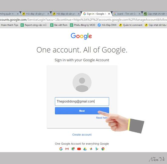 Bạn đăng nhập Gmail để nhập file danh bạ VCF