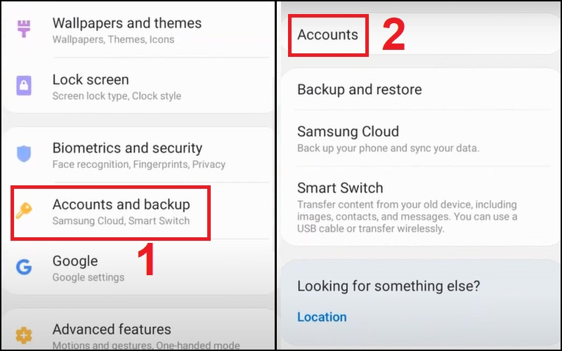 Vào mục Accounts and backup và chọn mục Account