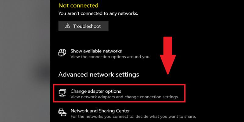 Chọn Change adapter options để cài đặt tùy chọn adapter