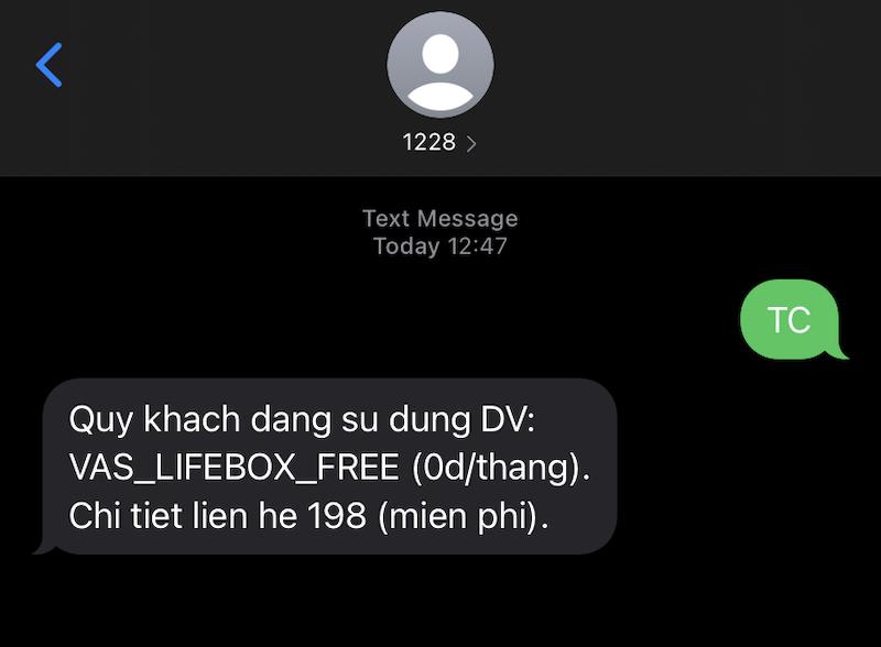 Tin nhắn bạn nhận được sau khi gửi cú pháp (Viettel)