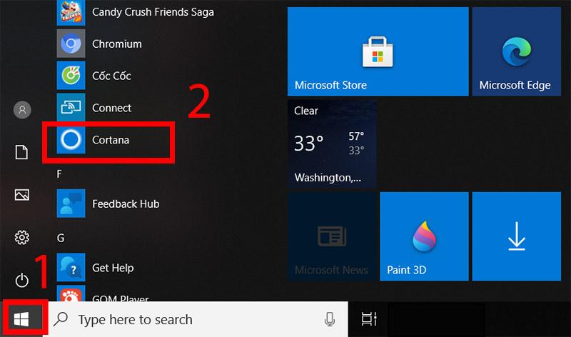 Chọn Cortana trên Windows