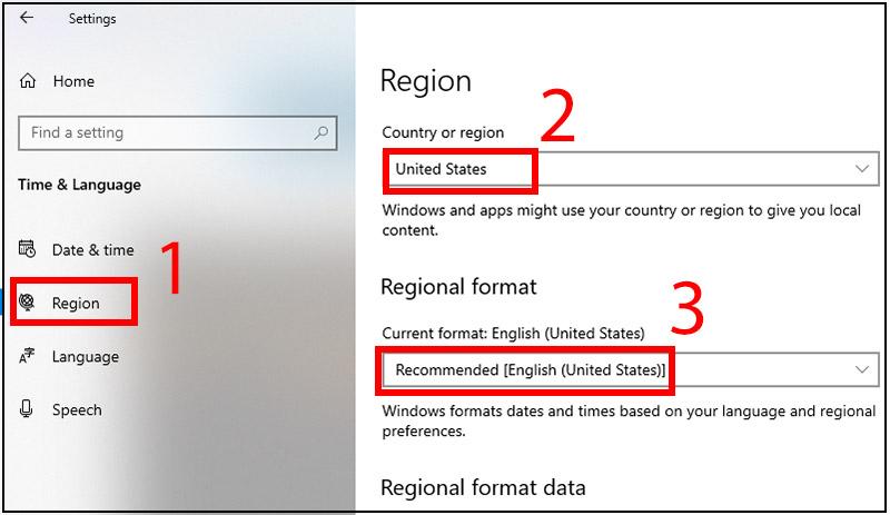 Chọn vùng và ngôn ngữ phù hợp