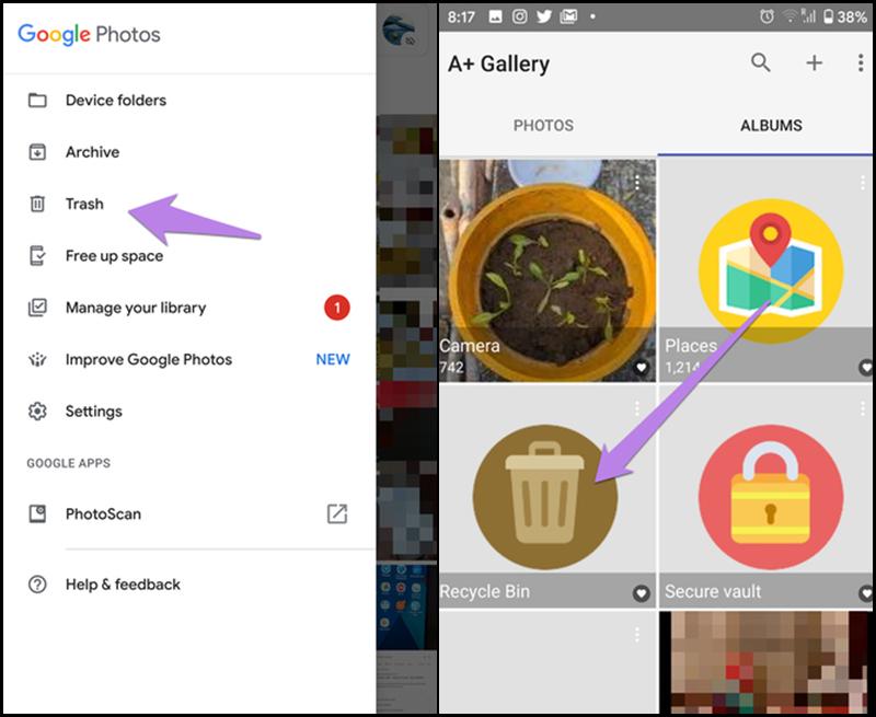 Thùng rác trên Google Photos và trên điện thoại