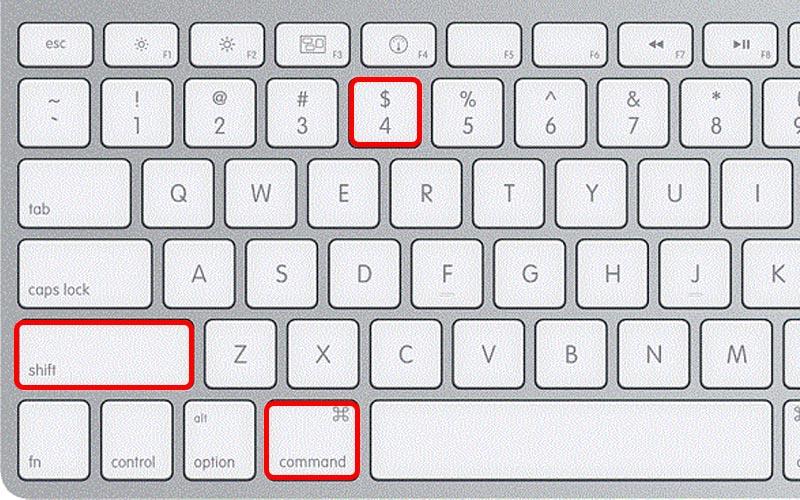 Nhấn tổ hợp phím Shift + Command (⌘)+ 4
