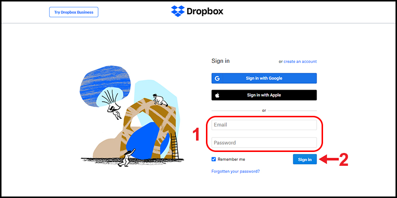 Đăng nhập Dropbox