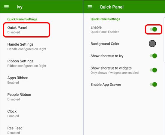 Bước 3: Tại giao diện chính của ứng dụng, bạn nhấp chọn Quick Panel và bật nó lên.