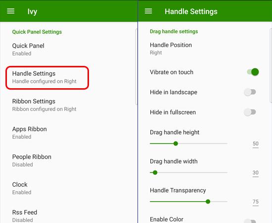 Bạn chọn Handle Settings để tùy chỉnh độ trong suốt và kích thước cạnh.